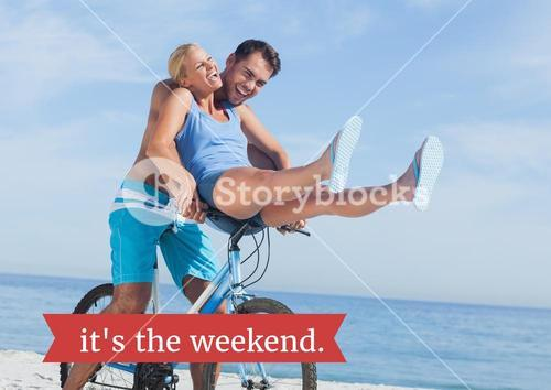 digital composite of couple on bike