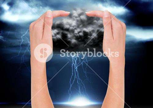 digital composite of hands catching bad wheather