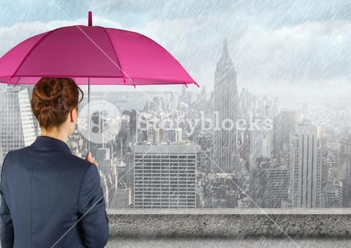 Digital composite of woman carrying umbrella