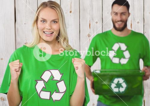 Digital composite of volunteers carrying recycling box