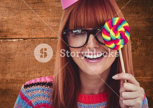 Digital composite of woman with lolly