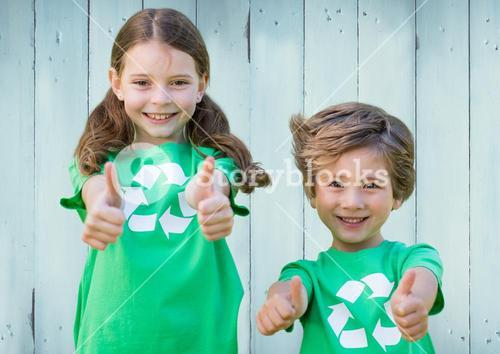 Two children with recycling shirts