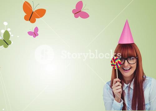 Digital composite of woman with sweets