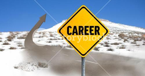 Digital composite of career sign