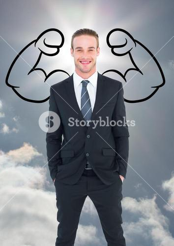 Composite of business man with strong arms