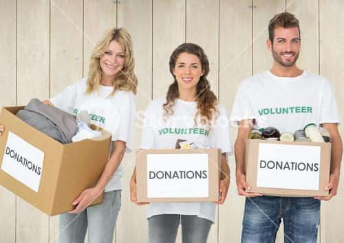 Composite of volunteers holding donation boxes