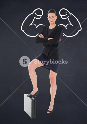 Composite of woman with strong arms