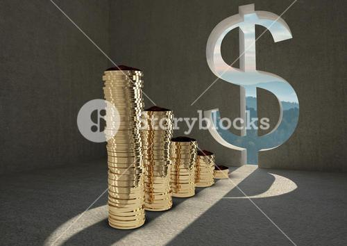 Composite of coins and dollar sign