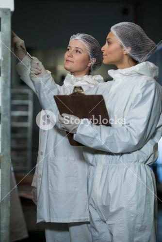 Female butchers maintaining records on clipboard