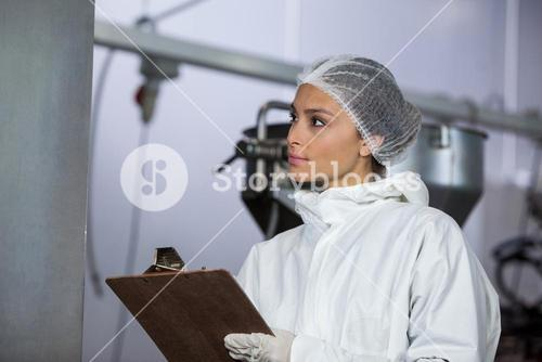 Female butcher maintaining records on clipboard