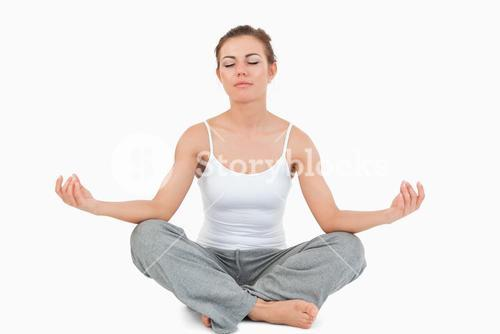 Woman in the Sukhasana position