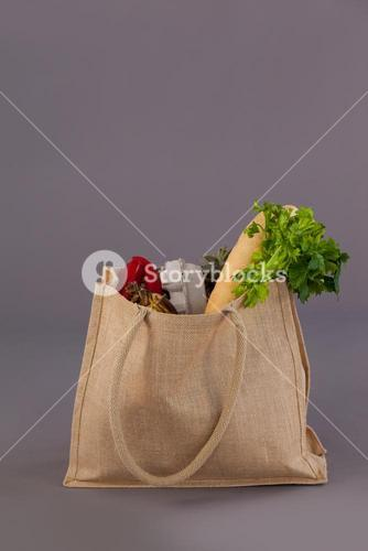 Vegetables in grocery bag