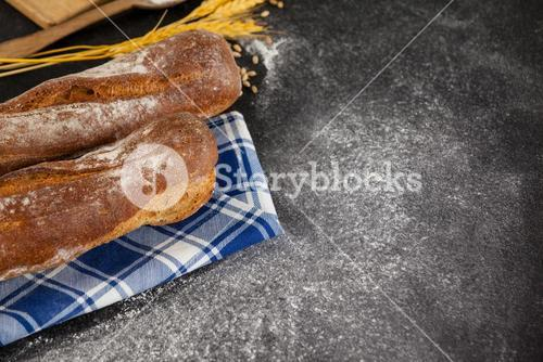 Bread loaf with wheat grains