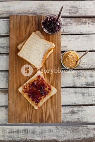 Bread with jam and peanut butter