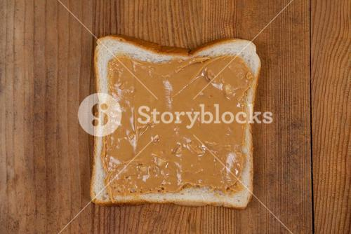 Bread slice with peanut butter