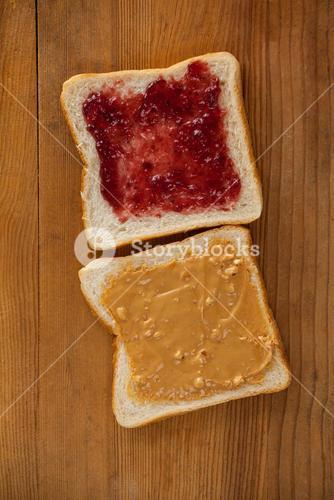 Bread slices with peanut butter