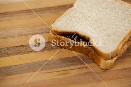 Bread sandwich with jam and peanut butter