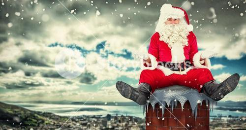 Composite image of doubtful santa sitting alone