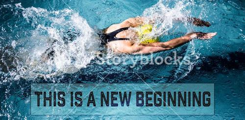 Composite image of swimmer woman swimming in the swimming pool
