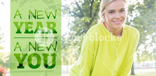 Composite image of active cheerful blonde pausing after a run