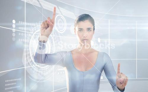 Composite image of portrait of woman gesturing