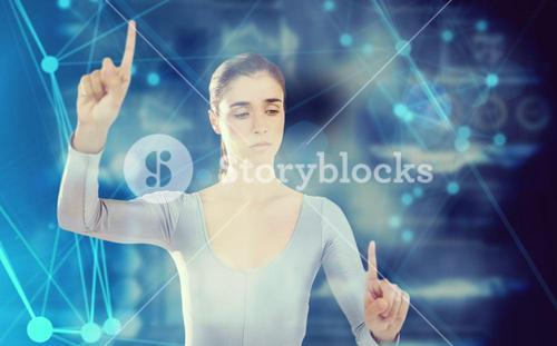 Composite image of confident woman gesturing
