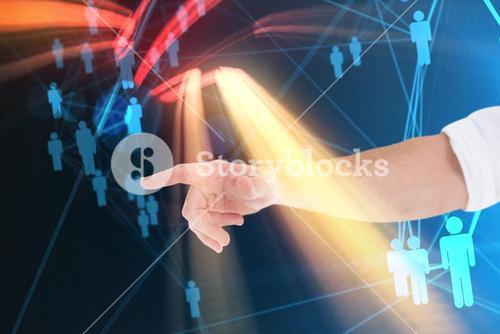 Composite image of businessmans hand pointing in shirt