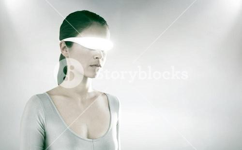 Composite image of beautiful woman using virtual video glasses