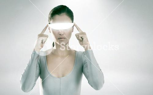 Composite image of woman using virtual video glasses