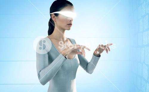 Composite image of woman using virtual video glasses against white background