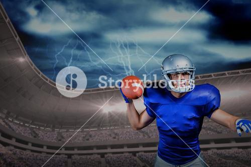 Composite image of serious american football player throwing ball