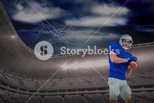 Composite image of confident american football player throwing the ball
