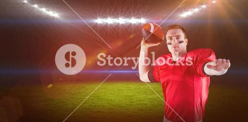 Composite image of american football player about to throw the ball