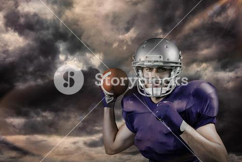 Composite image of portrait of sportsman smiling while throwing ball