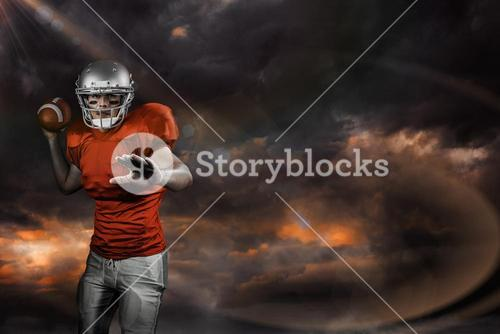 Composite image of sportsman throwing american football while playing