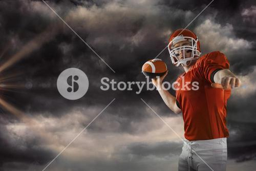 Composite image of american football player throwing football