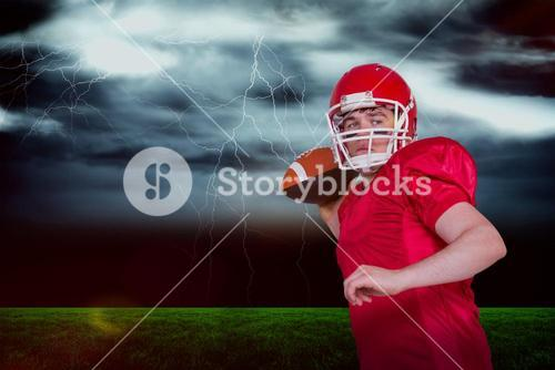 Composite image of american football player throwing a ball
