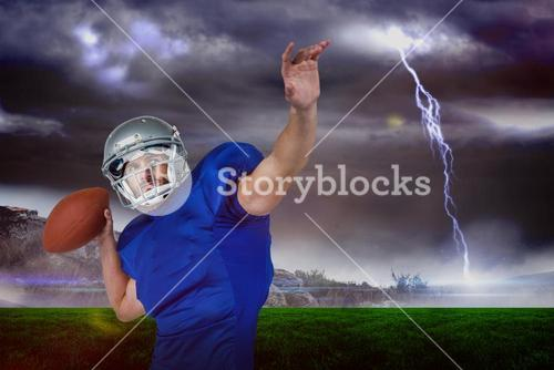 Composite image of american football player looking away while throwing the ball