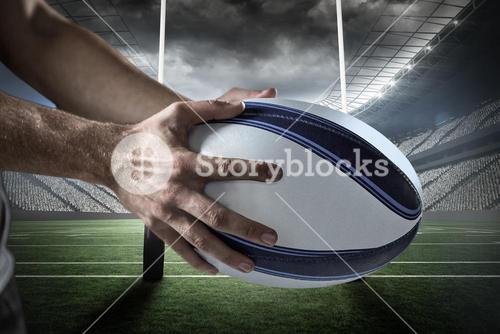 Composite image of cropped image of sports player holding ball 3D