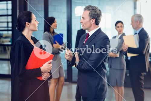 Side view of lawyer interacting with businessman