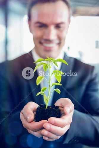 Happy businessman holding plant