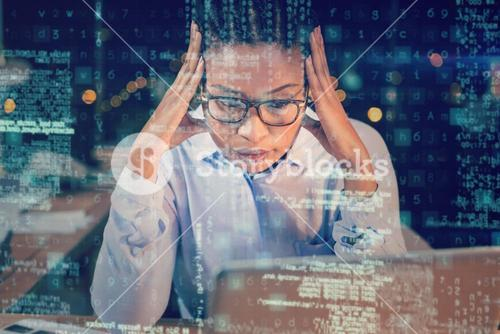 Stressed businesswoman sitting in office 3D