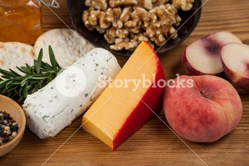 Various food items on wooden board