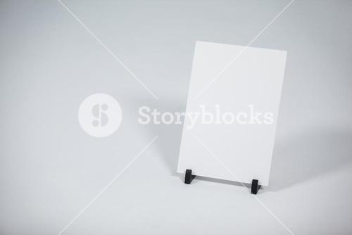 Blank placard placed on a stand