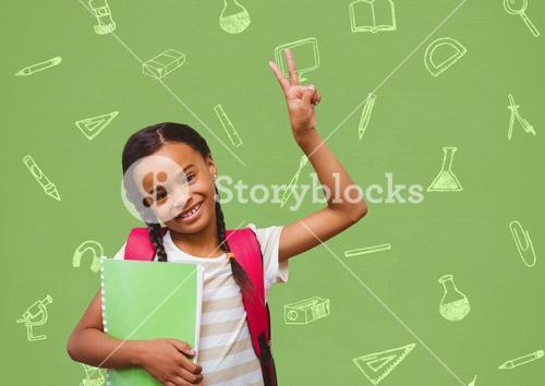 Portrait of smiling girl showing victory sign