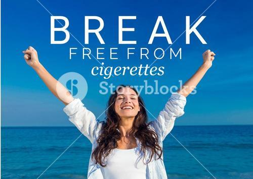 Blissful woman with free from cigarette text