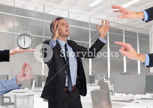 Conceptual image of businessman frustrated due to work load