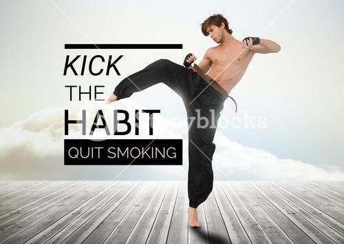 Karate man kicking with quit smoking text against sky background