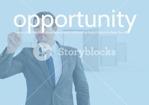 Businessman touching text opportunity