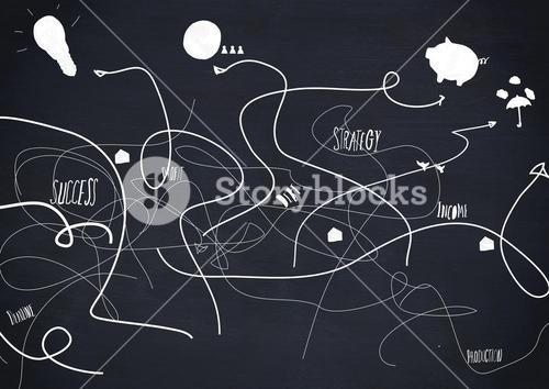 Business terms on black background with scribbled arrow lines